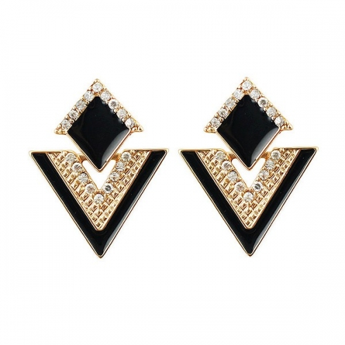 Rhinestone Party Earring - Black and...