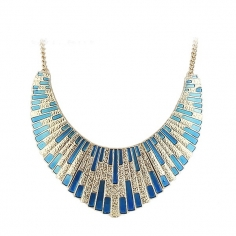 Choker Necklace - Golden Blue