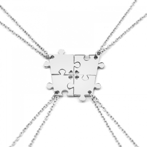 4-Pieces Puzzle halsband - Silver -...