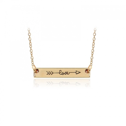 Charm Necklace gold Simple Letter...
