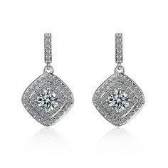 Köp billiga Luxurious Mosaic Shiny zirkon Örhängen 925 sterling Silver