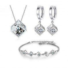 Köp billiga silver smycken Cube Zirkon Square Dangle Diamantkub 925 Silver Halsband armband örhängen smycken set smyckeset